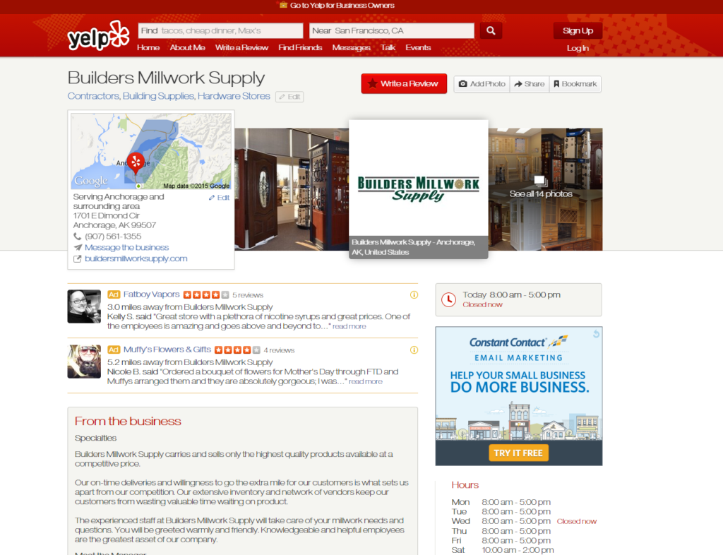 Builder supply Anchorage- Builders Millwork Supply is now on Yelp. We love to hear from our customers! Please take a moment to leave your review online at http://www.yelp.com/biz/builders-millwork-supply-anchorage. Visit us online at https://www.buildersmillworksupply.com/ or stop by showroom in Anchorage today!